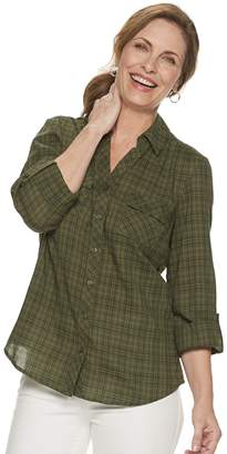 Croft & Barrow Petite Plaid Popover Shirt