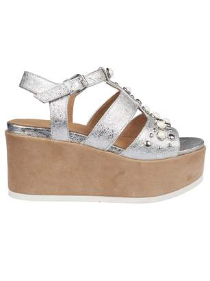 Janet & Janet Embellished Wedge Sandals