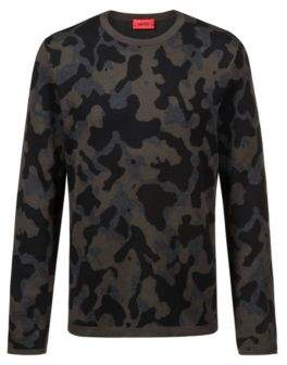 HUGO Boss Crew-neck sweater in cotton-blend three-color jacquard M Dark Green