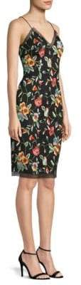 Aidan Mattox Embroidered Floral Cocktail Dress