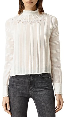 ALLSAINTS Lolita Embroidered Pleat Top $195 thestylecure.com