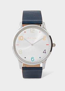Paul Smith Men's Silver And Slate Grey 'Slim' Artist Stripe Watch