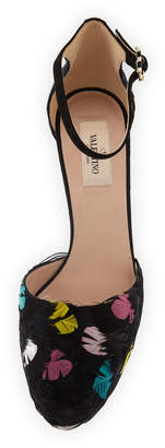 Valentino Multicolor Feather Ankle-Wrap Pumps