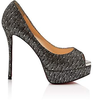 Christian Louboutin Women's Fetish Glitter & Lace Platform Pumps