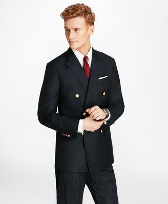 Brooks Brothers Country Club Milano Fit Saxxon Wool Double-Breasted Blazer