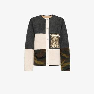 Sandy Liang Womp contrast panel fleece jacket