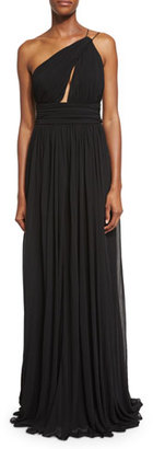 Michael Kors Cap-Sleeve Funnel-Neck Maillot Gown, Black $2,995 thestylecure.com