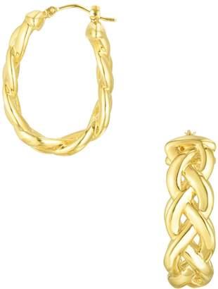 Sphera Milano 14K Yellow Gold Braided Hoop Earrings
