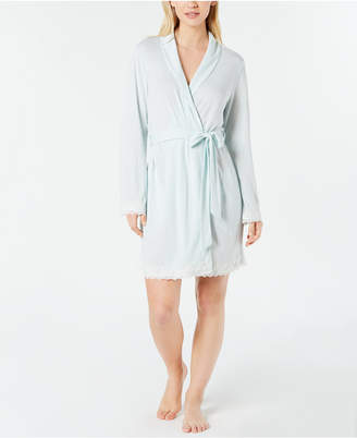 Charter Club Lace-Trimmed Soft Knit Wrap Robe