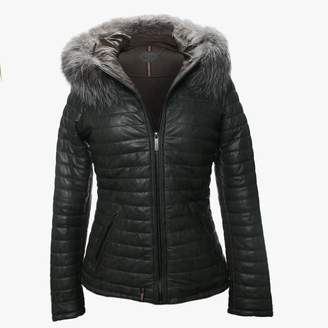 Oakwood Happy Charcoal Leather Fur Trim Hooded Jacket