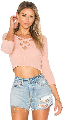 ale by alessandra Leona Cropped Sweater in Pink $148 thestylecure.com