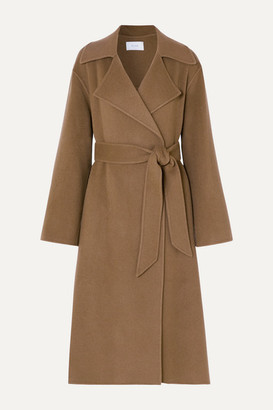 The Row Efo Belted Cashmere And Wool-blend Coat - Beige