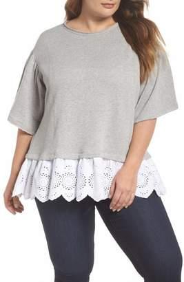 Caslon Twofer Lace Hem Sweatshirt