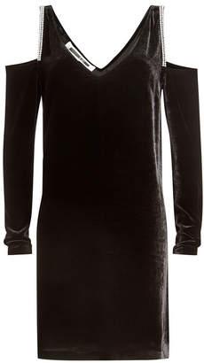 McQ Cold Shoulder Velvet Dress with Embellishment