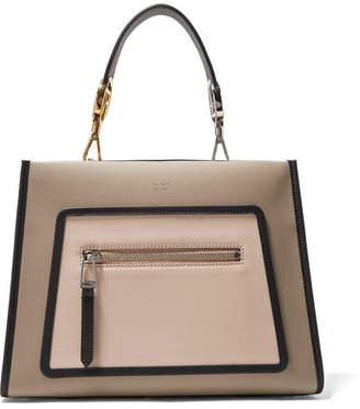 Fendi Runway Small Color-block Leather Tote - Light gray
