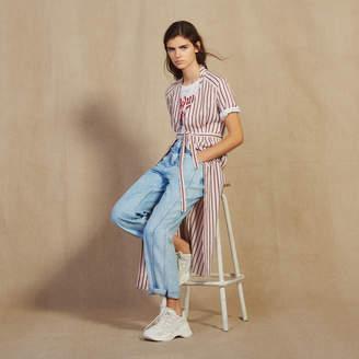 Sandro Long Shirt Dress With Narrow Stripes
