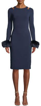 Alice + Olivia Tabitha Slit-Shoulder Cocktail Dress w/ Fox Fur Cuffs