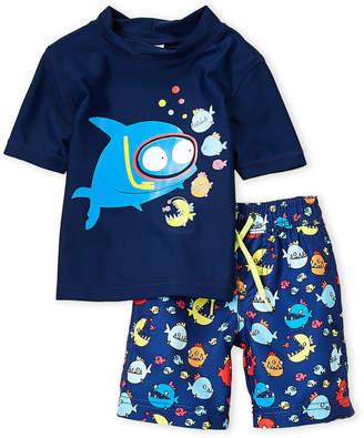 Kiko & Max (Toddler Boys) Two-Piece Mock Neck Rashguard & Board Shorts Set