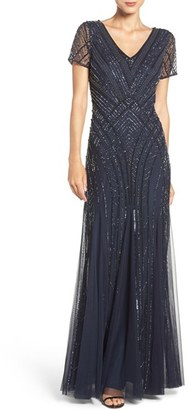 Women's Adrianna Papell Embellished Mesh Gown $329 thestylecure.com