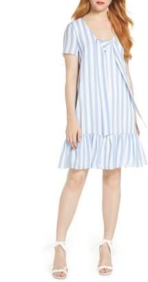 AVEC LES FILLES Lace Up Stripe Shift Dress