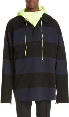Juun.J Long Sleeve Hooded Polo
