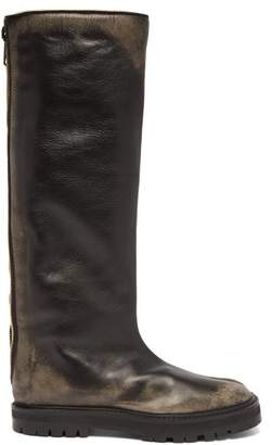 Maison Margiela Tabi Split Toe Knee High Distressed Leather Boots - Womens - Black