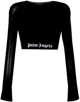 Palm Angels cropped logo waistband top