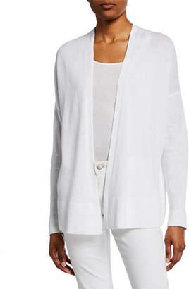 862c9a2879 Eileen Fisher Organic Linen Cotton Open-Front Long-Sleeve Cardigan