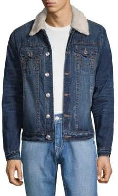 True Religion Faux Shearling-Trimmed Distressed Denim Jacket