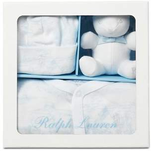 Ralph Lauren Boys' Coverall, Hat & Bear Gift Set - Baby