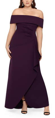 Xscape Evenings Off the Shoulder Ruffle Gown