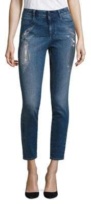 Peserico Embroidered Sparkles High-Waist Skinny Jeans