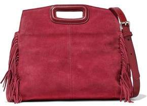 Maje Fringed-Trimmed Suede Shoulder Bag