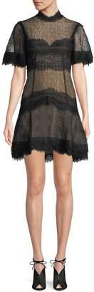 Jonathan Simkhai Lingerie-Inspired Lace Short-Sleeve Mini Cocktail Dress