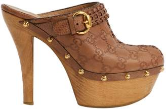 Gucci Brown Leather Mules & Clogs