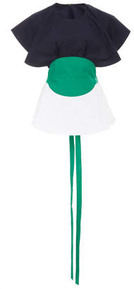 Rosie Assoulin Bullseye Tied Color-Blocked Cotton-Poplin Top