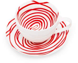 Moma Red Spirals Teacup & Saucer (Set of 2)