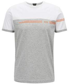 BOSS Hugo Color-block cotton T-shirt logo print L White