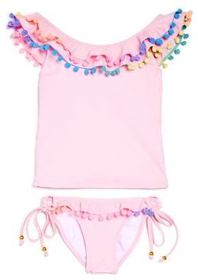 Pilyq Girls' Pom-Pom Tankini Swimsuit - Little Kid, Big Kid