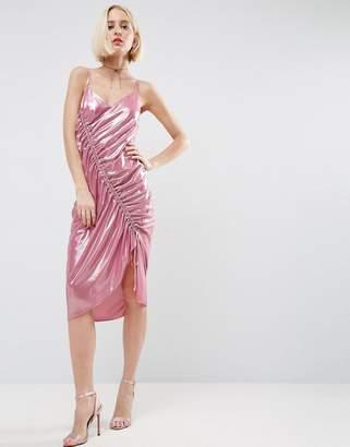 Asos Ruched Slip Midi Dress In Metallic Fabric