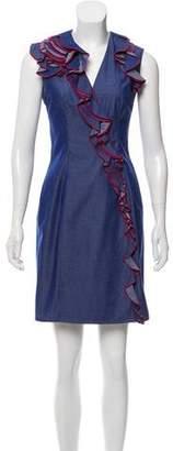 Thierry Mugler Ruffle-Trimmed Chambray Dress