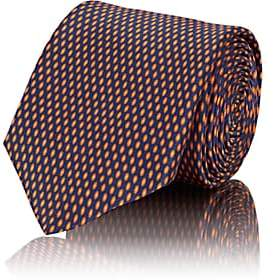 Barneys New York Men's Oval-Micro-Dot Silk Satin Necktie - Orange