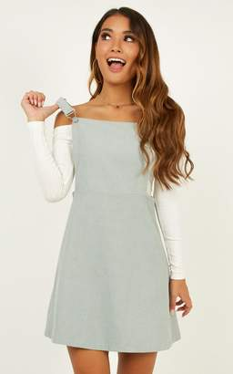 Showpo Thats What I Like pinafore dress in sage cord - 6 (XS) Dresses