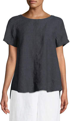 Eileen Fisher Denim Linen Flutter Top