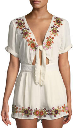 Tularosa Rowley Floral-Embroidered Romper w/ Tie Keyhole Front
