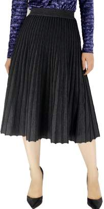 YSJ Women's Knitted Skirts A-Line Pleated Striped Midi Swing Skirt Petite (M, )