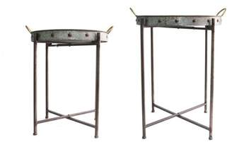 Stratton Home Décor Stratton Home Decor Set of 2 Metal Tray Tables