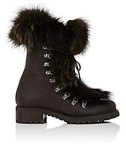 Barneys New York Women's Fur-Trimmed Leather Ankle Boots-Dk. brown