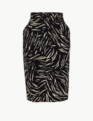 75bf72410dd4 M&S CollectionMarks and Spencer Cotton Rich Animal Print Pencil Skirt