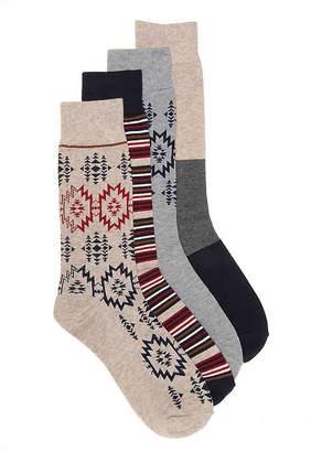 Lucky Brand Pop Geo Crew Socks - 4 Pack - Men's